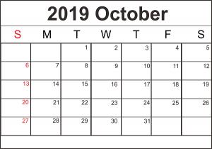 Free October 2019 Printable Calendar in PDF